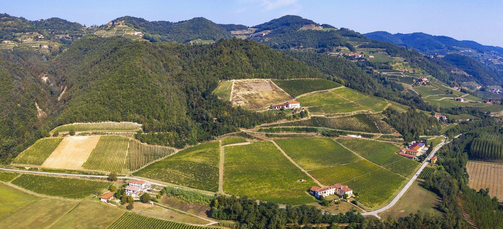 Vista panoramica di Cavallero Vini e dei colli circostanti l'azienda, a Vesime